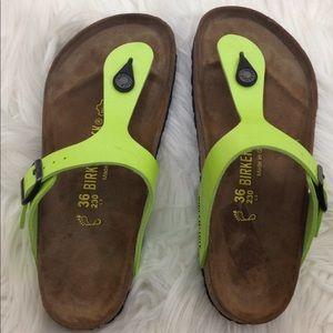 Birkenstock Gizeh Lime Neon Green Sandals Sz 6-36